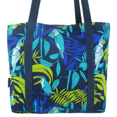 Jungle Parrot Toucan Bird Print Large Cotton Fabric Lightweight Lined Tote Bag