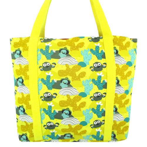Bright Yellow Desert Cactus Print Large Cotton Market Shopper Tote Bag