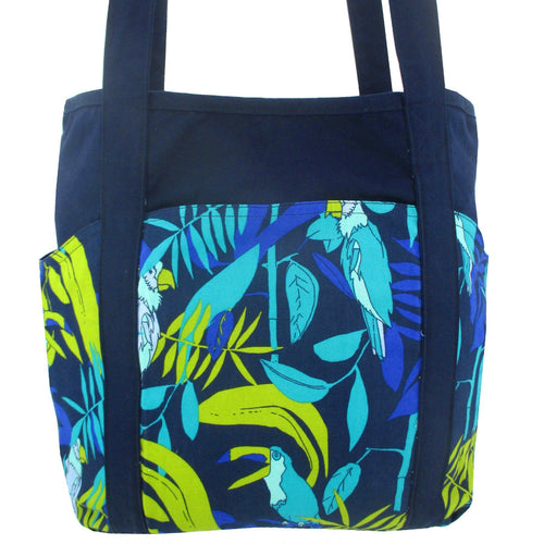 Parrot Toucan Jungle Leaves All Over Print Cotton Large Tote Bag with Plenty of Pockets