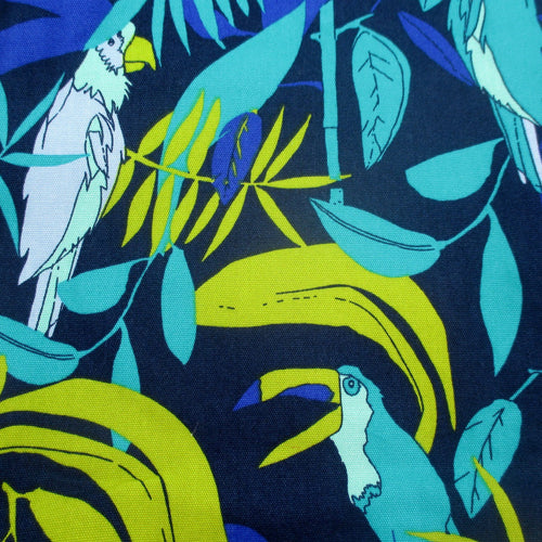 Tropical Birds Toucan Parrot Pattern Large Utility Tote Bag with Pockets