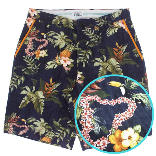 Hawaiian Flowers Leaf Toucan All Over Print Flat Front Men's Shorts