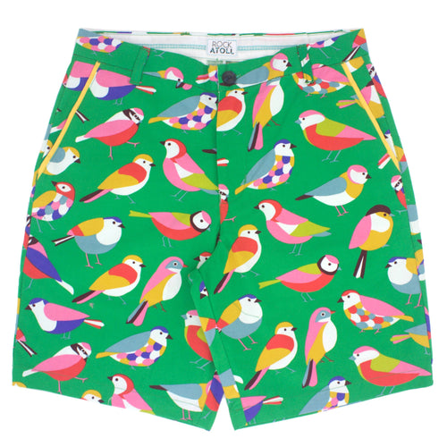 Colorful Bird All Over Print Flat Front Mens Shorts in Green