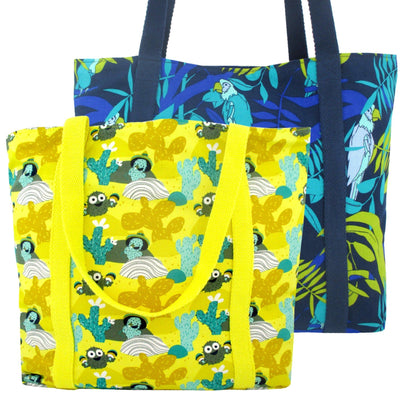 Yellow and Blue Large Shopper Totes in Colorful Animal Desert Themed Print | Pack of 2