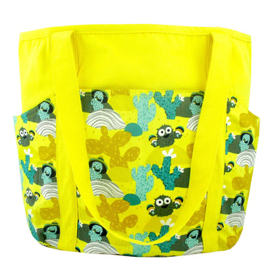 Bright Yellow Desert Themed Cactus Pattern Large Utility Shoulder Tote Shopper Bag with Pockets