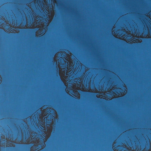 Funny Walrus Print Boxers for Men in Blue