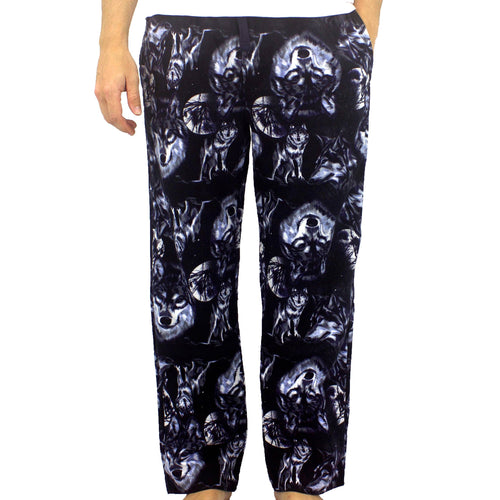 Wolves All Over Print Soft Warm Cotton Flannel Pj Pajama Pants for Men