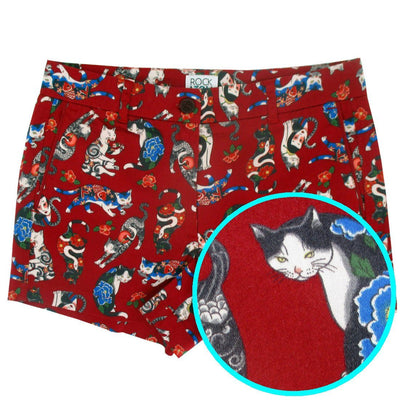 Unique Japanese Inspired Yakuza Tattoo Kitty Cat All Over Print Shorts in Red