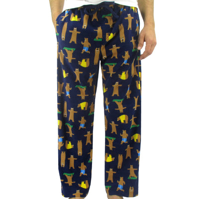 Men's Soft Fleece Long Pajama Pants Bottoms with Yoga Brown Bear Pattern