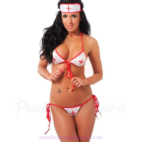 3-Piece Sexy Nurse Bikini Oufit with Front and Side Ties