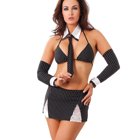 7-PIECE ONE SIZE BLACK AND WHITE SEXY SECRETARY COSTUME