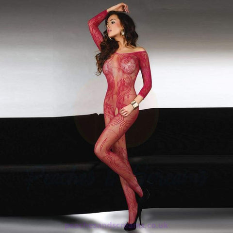 Abra Red Long-Sleeved Full Crotchless Lace Body Stocking, UK 8-12