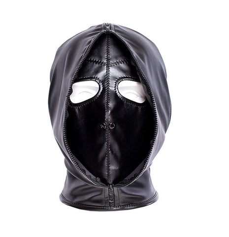 Asylum BDSM Bondage Multiple Personality Hood with Zip Mouth and Eye Openings, Size Small and Medium