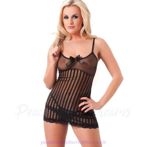 Black Babydoll with Striped Design, Bow and G-String