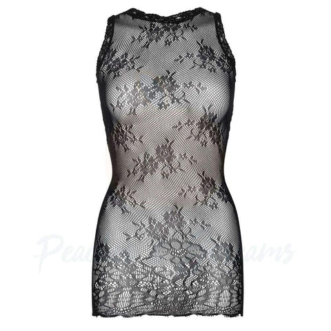Black Floral See-Through Lace Mini Dress with Scalloped Edge