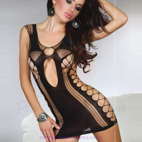 Corsetti Anshula Fitted Sheer Black Mini Dress with Net and Keyhole Detail, UK 8-12