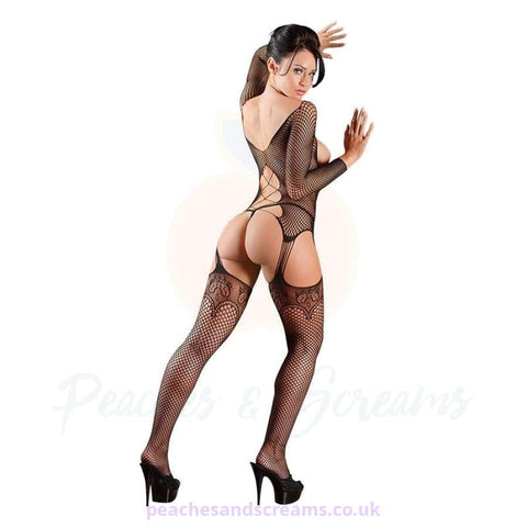Cupless Black Suspender Bodystocking with Open Crotch and G-String
