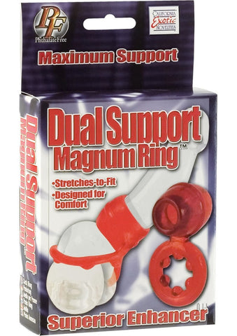 Dual-Support Stretchy Magnum Cock Ring with Ribbed Scrotum Ring