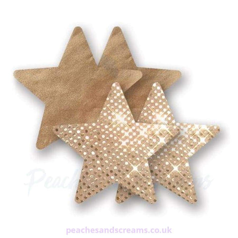 Gold Star-Shaped Glitter Nipple Cover Pasties for Women