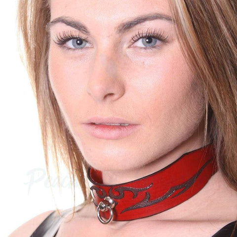 House of Eros Wide Red Lace-Up Leather O-Ring Slave Collar