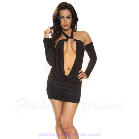 Long-Sleeved Black Mini Dress with Deep Cowl and G-String