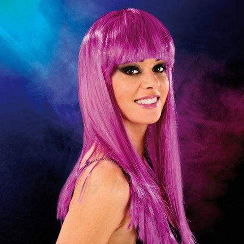 Long Purple Hairstyle Sexy Wig with a Bang