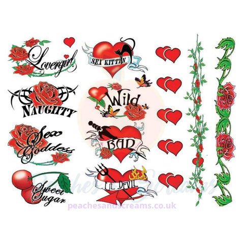 NAUGHTY BACHELORETTE 40-PIECE SEXY WATERPROOF STICK-ON TEMPORARY TATTOOS