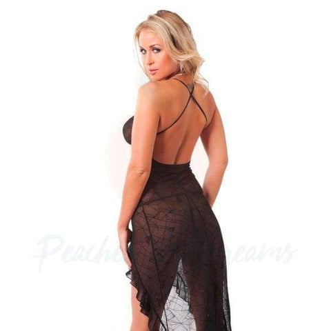 Open-Back Sheer Black Lace Night Dress with G-String