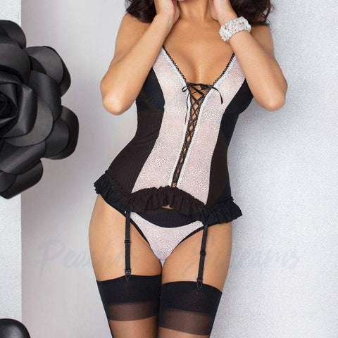 Passion Larisa Black and White Corset with G-String and Suspenders