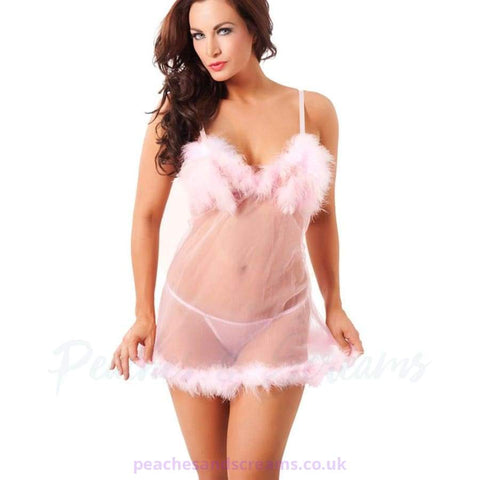 Pink Babydoll with Fluffy Chest and Hem Detail and G-String