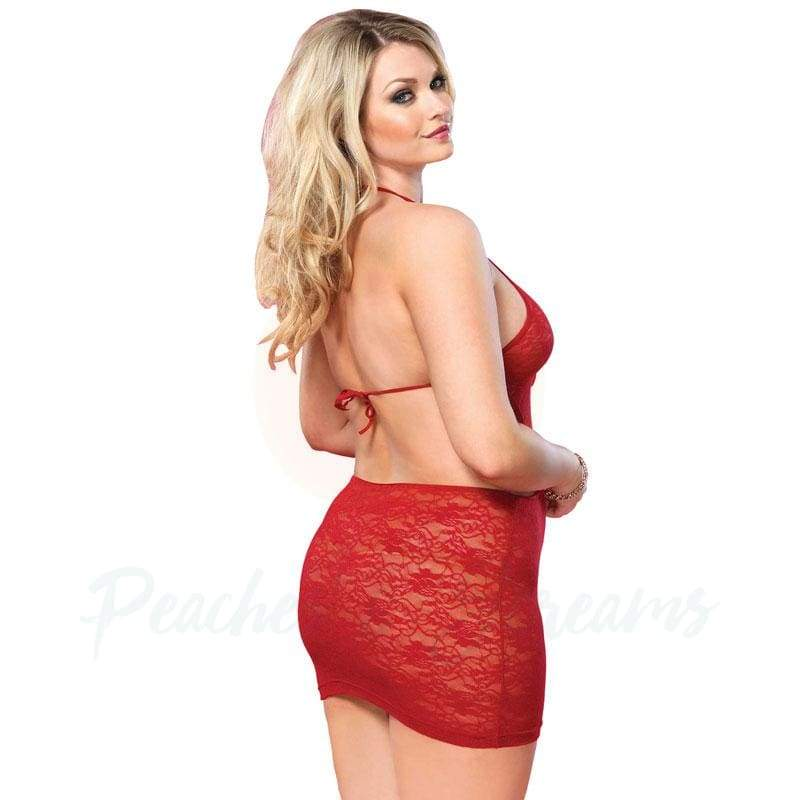 Plus-Size Sexy Lace Mini with Open Back and G-String