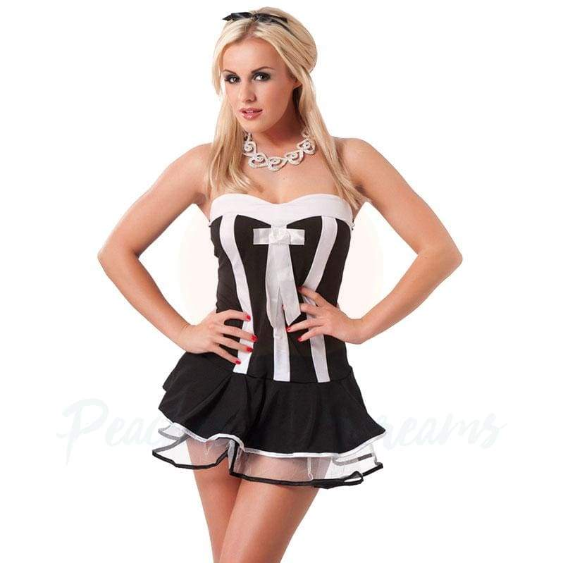 Rimba Black and White Striped Waitress Costume with G-String