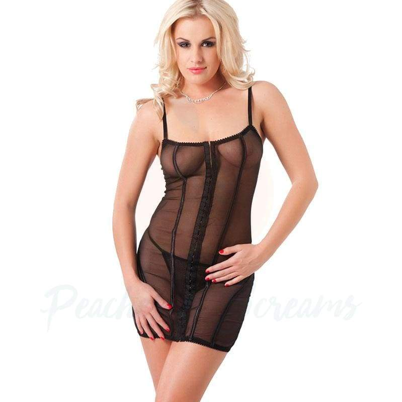Rimba Sexy Sheer Black Dress with Matching G-String