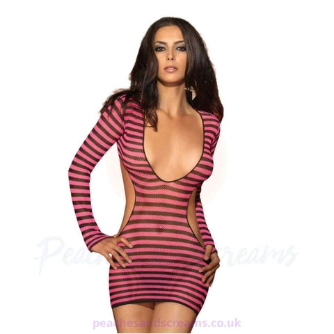 Sexy 2-Piece Black and Pink Striped Long-Sleeve Fishnet Mini Dress with Deep V, Cut-Out Sides and G-String