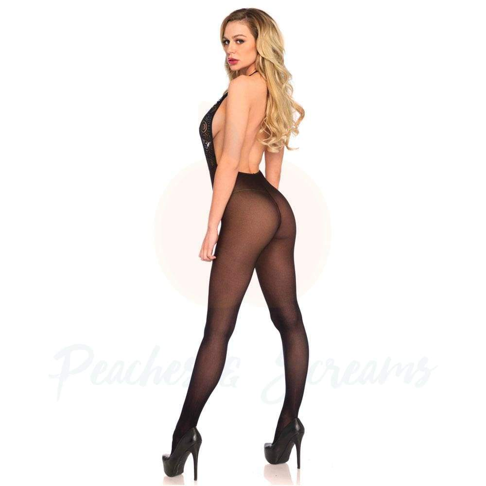Sexy Black Halter Bodystocking Playsuit for Women, UK 8-14