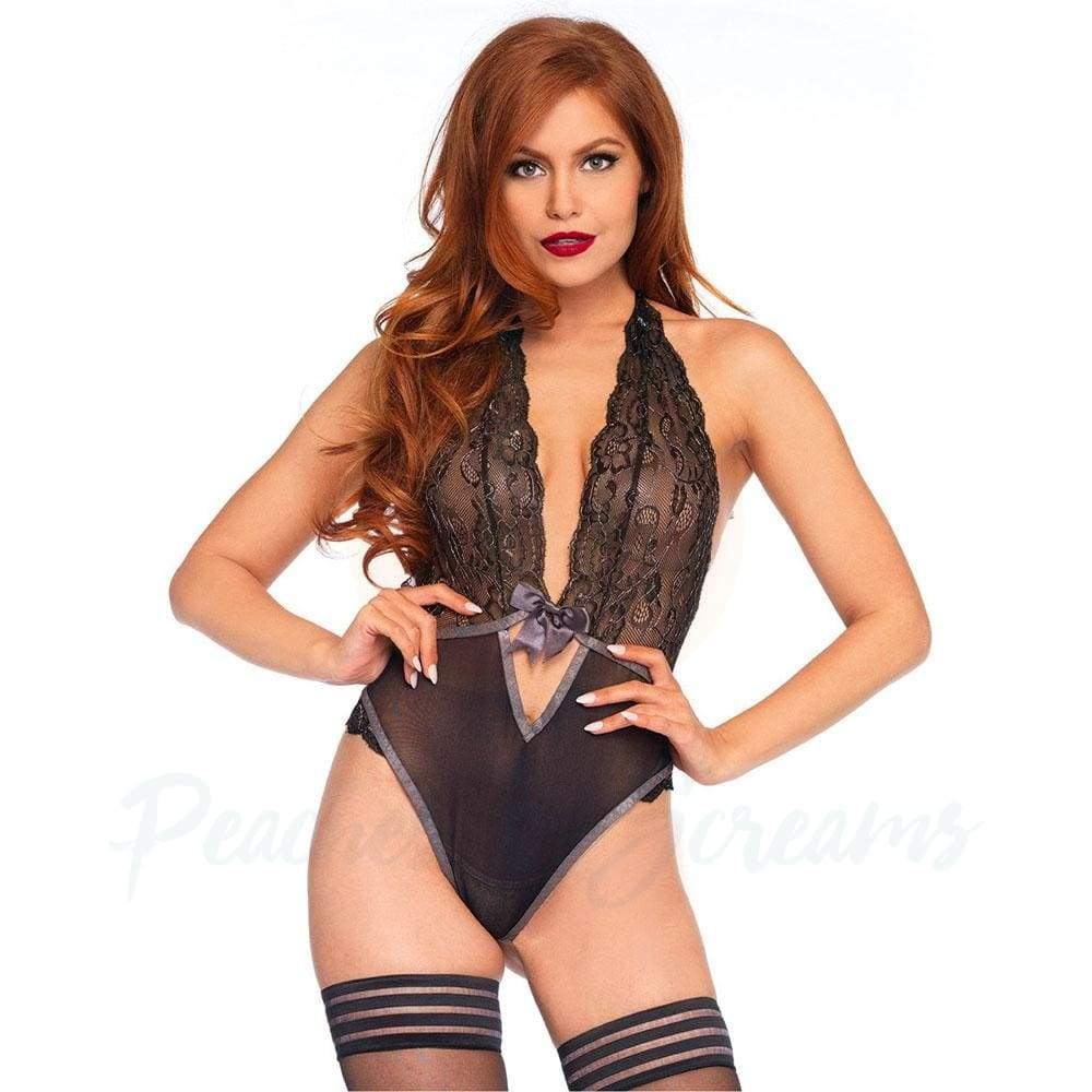 Sexy Black Lace Halter Teddy Playsuit for UK 8-14