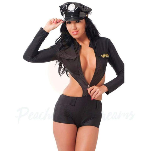 Sexy Black One-Piece Police Uniform Costume with Hat