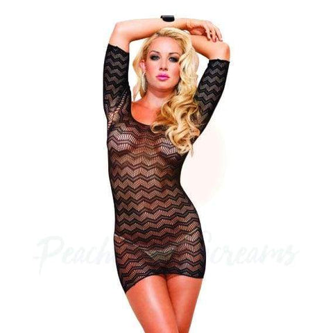 Sexy Black Zig-Zag Mini-Dress with Cut-Out Back Detail for Women
