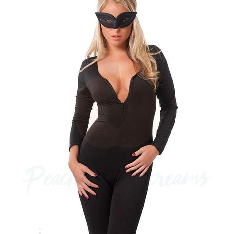 Sexy Full Length Black Catsuit Bodystocking Nightwear for Women