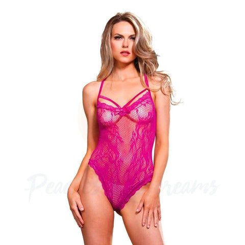 Sheer Cerise Strappy Thong Teddy Playsuit for UK 8-14