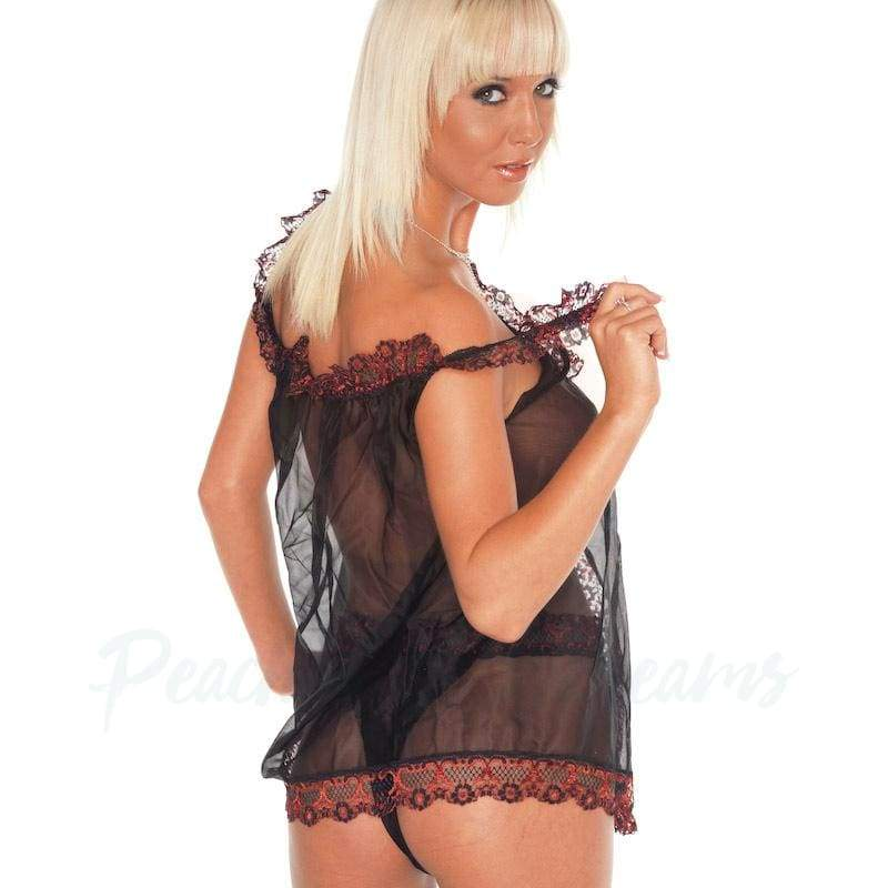 Sheer One Size Black Babydoll with Red Lace Trim and Panty