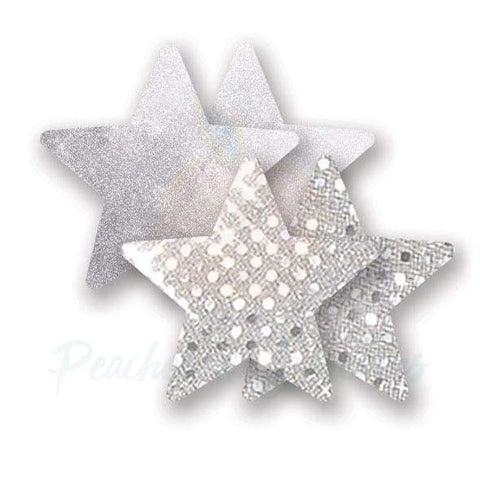 Silver Waterproof Star-Shaped Glitter Nipple Cover Pasties