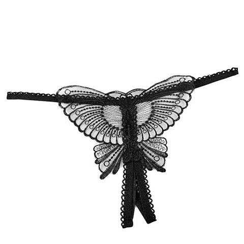 Specifications of Black Sequin Butterfly Crotchless G-String Thong for Women