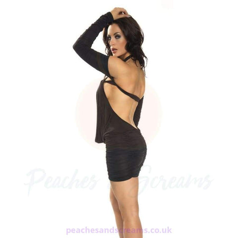 Specifications of the Long-Sleeved Black Mini Dress with Deep Cowl and G-String