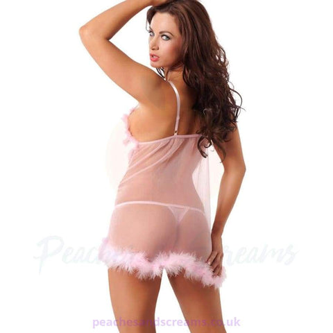 Specifications of the Pink Babydoll with Fluffy Chest and Hem Detail and G-String
