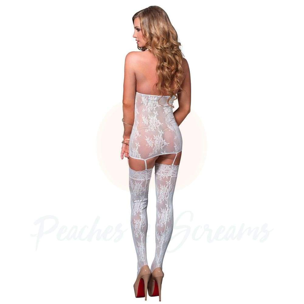 White Floral Lace Crotchless Suspender Bodystocking, UK 8-14