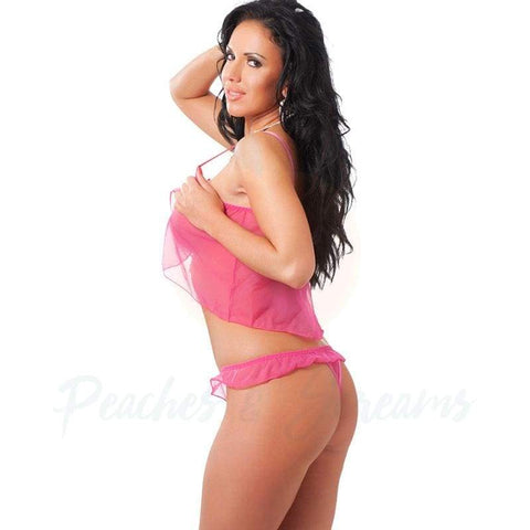 Women's Pink Sheer Mini Babydoll with Matching G-String