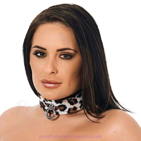 ANIMAL PRINT LEATHER BDSM BONDAGE COLLAR
