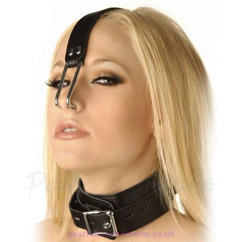 BLACK BDSM BONDAGE NECK COLLAR WITH NOSE HOOKS