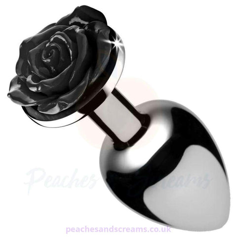 BOOTY SPARKS BLACK ROSE SMALL ALUMINIUM METAL BUTT PLUG