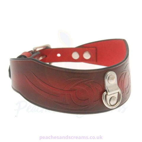 HOUSE OF EROS DARK RED TRIBAL COLLAR RESTRAINT WITH D RING